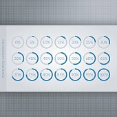 0 5 10 15 20 25 30 35 40 45 50 55 60 65 70 75 80 85 90 95 100 percent pie charts. Vector percentage infographics. Circle diagrams isolated. Set of business icon illustrations