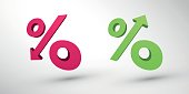 modern style percentage decrease and growth 3d icons