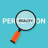 perception reality magnifying find truth vector concept