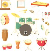 Set of various percussion musical instruments in the flat style