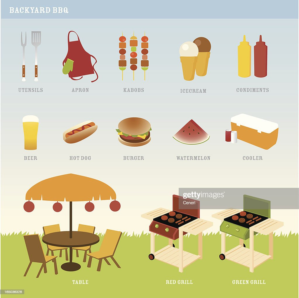 perfect backyard bbq party vector art getty images