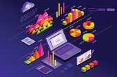 Statistics presentation with perfect statistic elements and diagram rise. Isometric icons vector design.