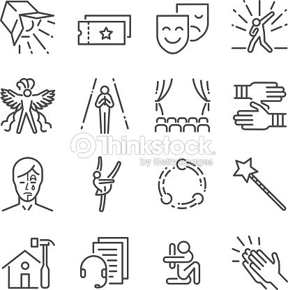 Performance line icon set. Included the icons as mask, mime, stage, concert and more. : stock vector