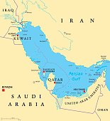 Persian Gulf region countries political map. Capitals, borders, cities and rivers. Iran, Iraq, Kuwait, Qatar, Bahrain, United Arab Emirates, Saudi Arabia, Oman. Illustration. English labeling. Vector.