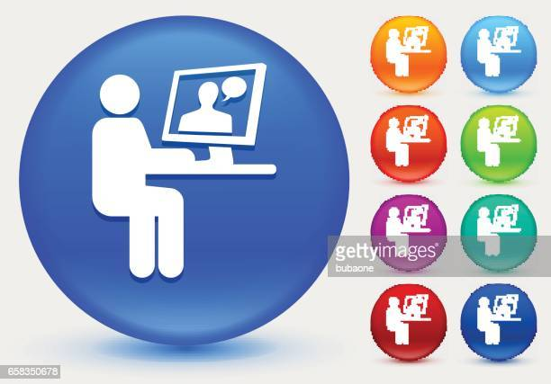 Person Chatting on Computer Icon on Shiny Color Circle Buttons