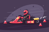 Person in protective suit on race car rides on karting. Concept man in helmet on races. Vector illustration.