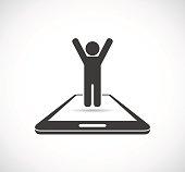 person on smartphone - conceptual icon