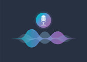 Personal assistant and voice recognition concept gradient vector illustration of soundwave intelligent technologies. Microphone button with bright voice and sound imitation waves. Communication
