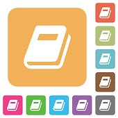 Personal diary flat icons on rounded square vivid color backgrounds.