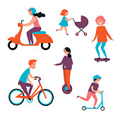 Set of personal transport vehicles. Urban street transport cartoon collection. Electric scooter, motorbike, bicycle, skateboard, unicycle, baby carriage. Boys and girls with wheel based personal items