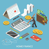 Personal home finance flat isometric vector concept. Man is calculating a budget surrounded by corresponding attributes.