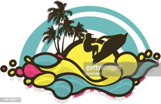 Man Riding A Jet Ski Vector Art | Getty Images