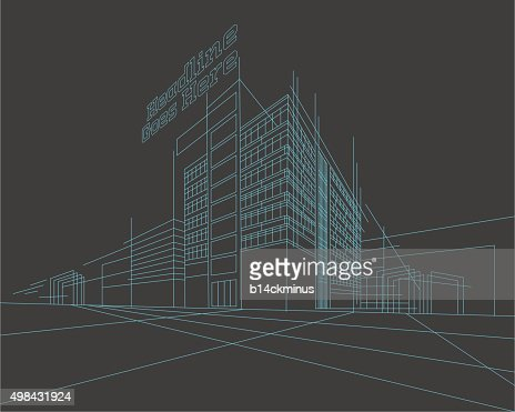 Perspective 3d Wireframe of building : Vector Art