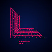 Perspective grid on a dark background. Vector illustration