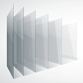 3d perspective transparent glass siny gray abstract rectangles on white background. RGB EPS 10 vector illustration
