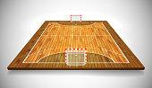 Perspective vector illustration of hardwood handball field, cort. Vector EPS 10. Room for copy.