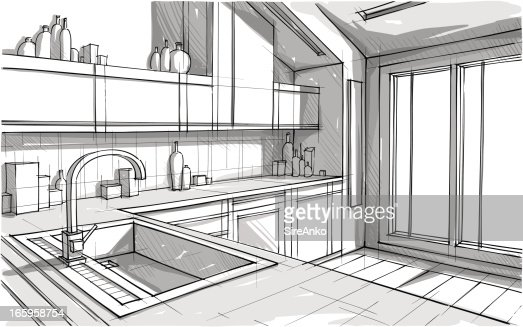 Kitchen Drawing Perspective perspective view sketch of a kitchen in greyscale vector art