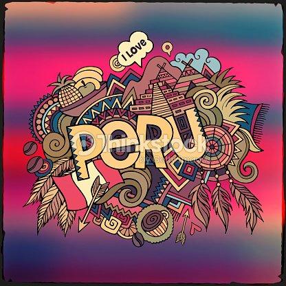 Peru Mano Letras Y Garabatos Elementos De Fondo Arte