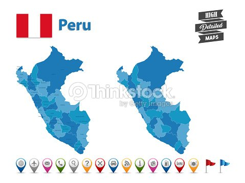 Peru High Detailed Map With Gps Icon Collection Vector Art | Thinkstock