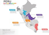 Vector Illustration of regional maps with isolated colors for education, info-graphics and data purpose