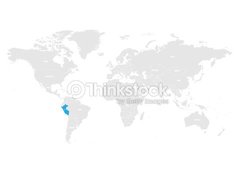 Peru Marked By Blue In Grey World Political Map Vector Illustration ...