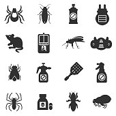pest control, exterminators monochrome icons set