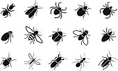 Pests and various insects set icons. vector illustration
