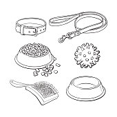 Set of pet, cat, dog accessories full and empty bowl, collar, leash, rubber ball, hairbrush, black and white sketch style vector illustration isolated on white background. Hand drawn pet accessories
