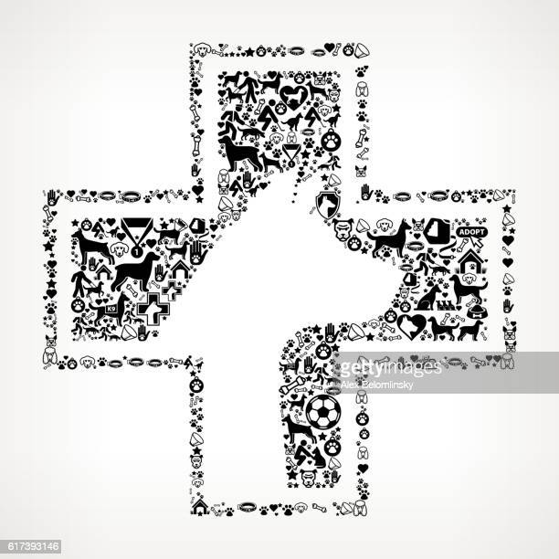 Pet Health Dog and Canine Pet Black Icon Pattern