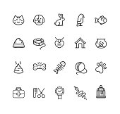 Pet Web Outline Icon Set. Vector illustration