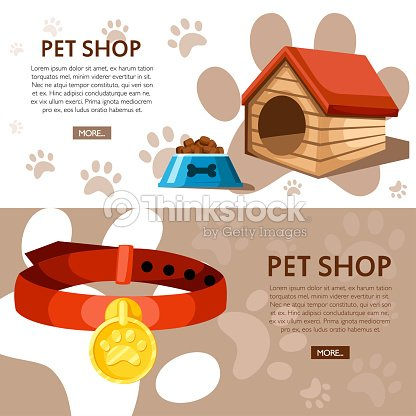 Pet Shop Concept Doghouse Bowl And Collar Vector