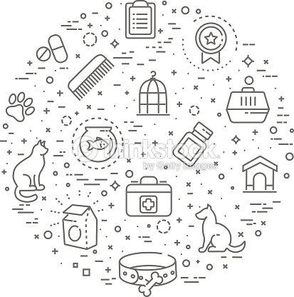 pet shop concept illustrationline design vector template ベクトル