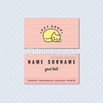 Animalerie Rose Clair Vecteur Carte De Visite Logo Chat Clipart Vectoriel