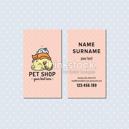 Animalerie Rose Vecteur Carte De Visite Logo Avec Des Animaux Compagnie Clipart