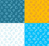 Pet Shop Signs Seamless Pattern Background Set for Web and App Element Concept. Vector illustration