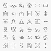 Pet Vet Line Icons Set. Vector Thin Outline Animal Doctor Symbols.