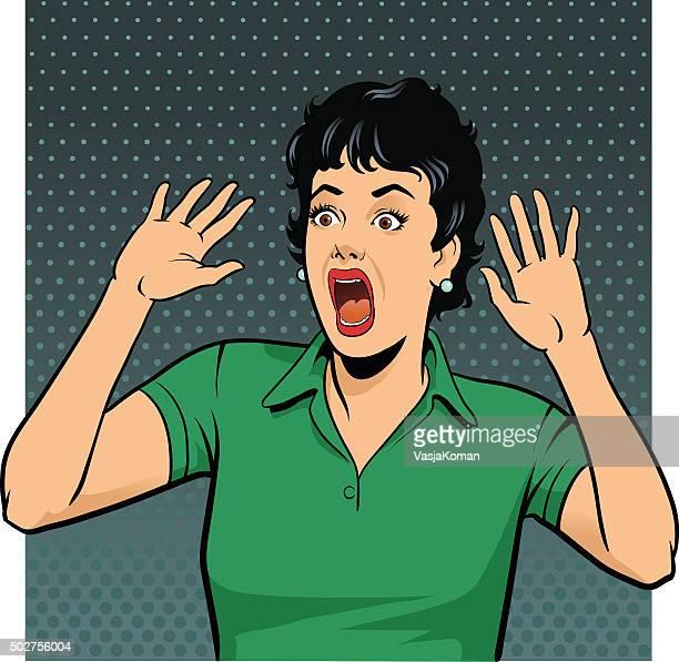 Petrified Style rétro femme crier