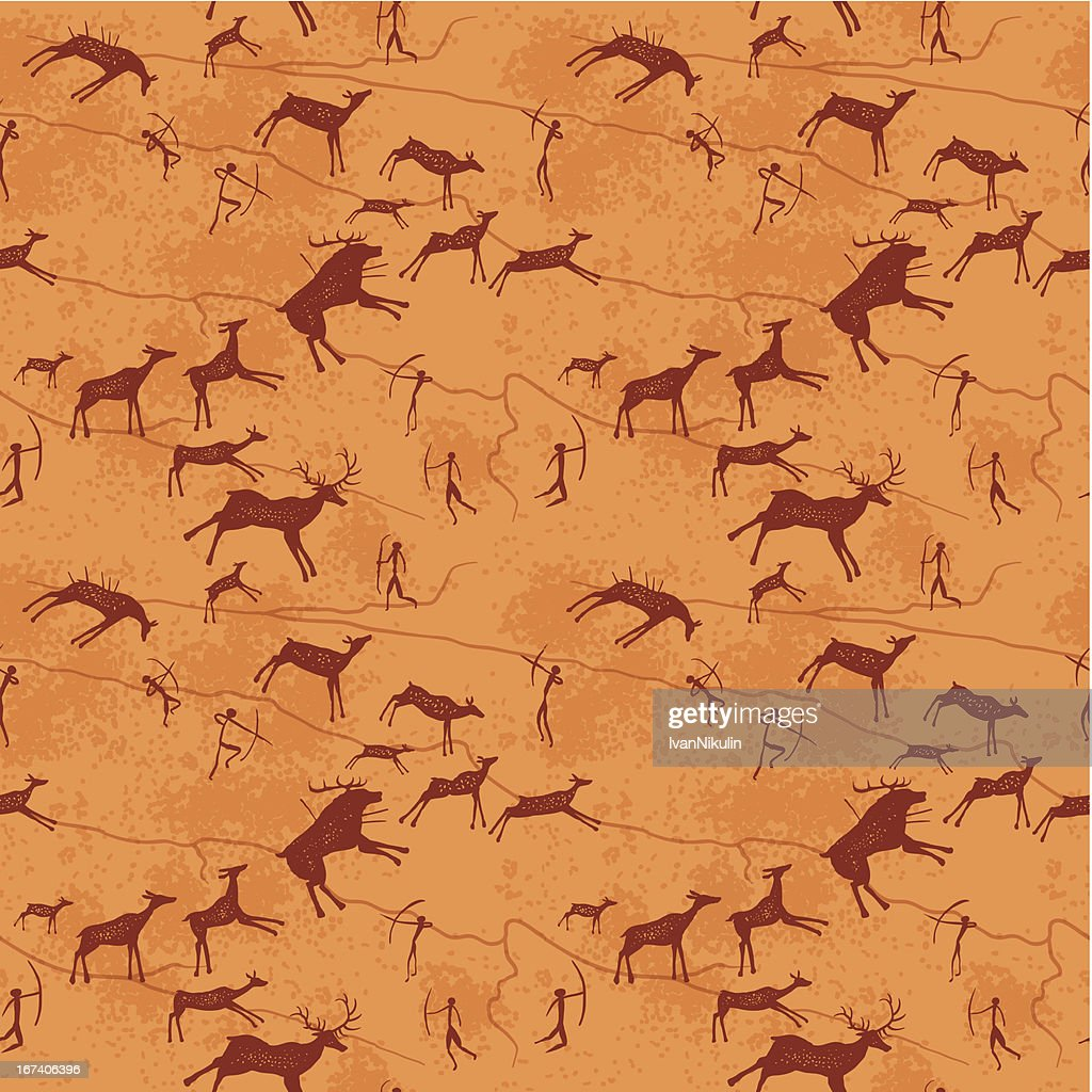 Petroglyphs seamless pattern : Vector Art