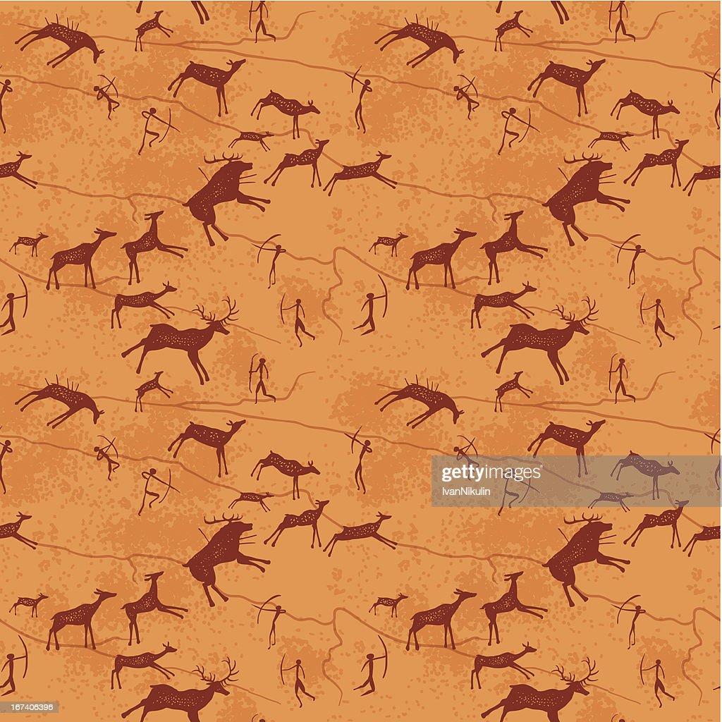 Petroglyphen Nahtlose Muster : Vektorgrafik