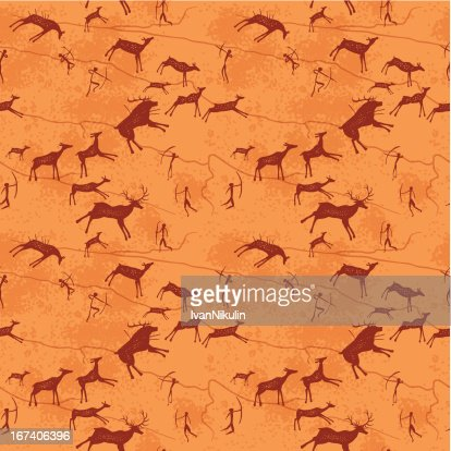 Petroglyphs seamless pattern : Vectorkunst