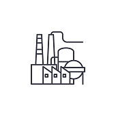 Petroleum refinery line icon, vector illustration. Petroleum refinery linear concept sign.