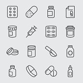 Pharmaceutical and Pills line icon