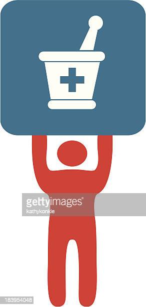 A Pharmacist sign of a red silhouette holding a blue square