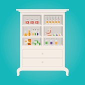 Modern vector illustration of Pharmacy and herbalist's shop shelves with tablets pills bottles drops
