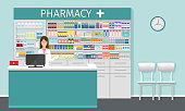 Pharmacy counter with pharmacist. Drugstore interior with showcases with medicines and apothecary female character in medicine clinic. Vector illustration.