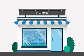 Pharmacy drugstore design with drug shelves and cashier counter flat design illustration vector.