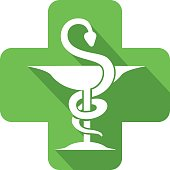 Icon of a pharmacy outpatient to illustrate health and care