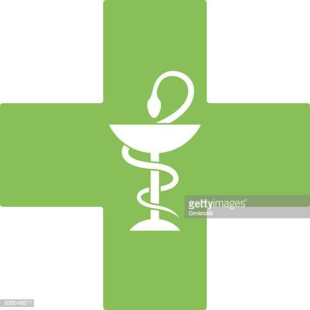Pharmacy snake symbol on green cross isolated on white