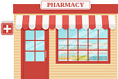 Pharmacy store front. Vector. Drugstore, storefront shop. Facade retail building with window. Vintage exterior house, street architecture. Cartoon illustration isolated in flat design.