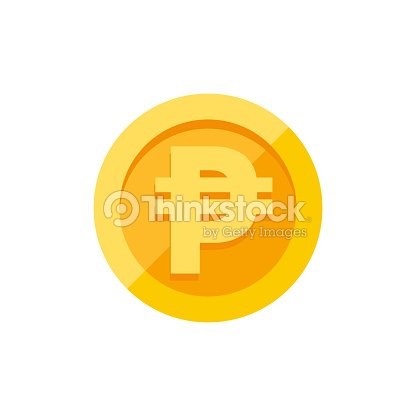 Philippine Peso Currency Symbol On Gold Coin Flat Style Vector Art